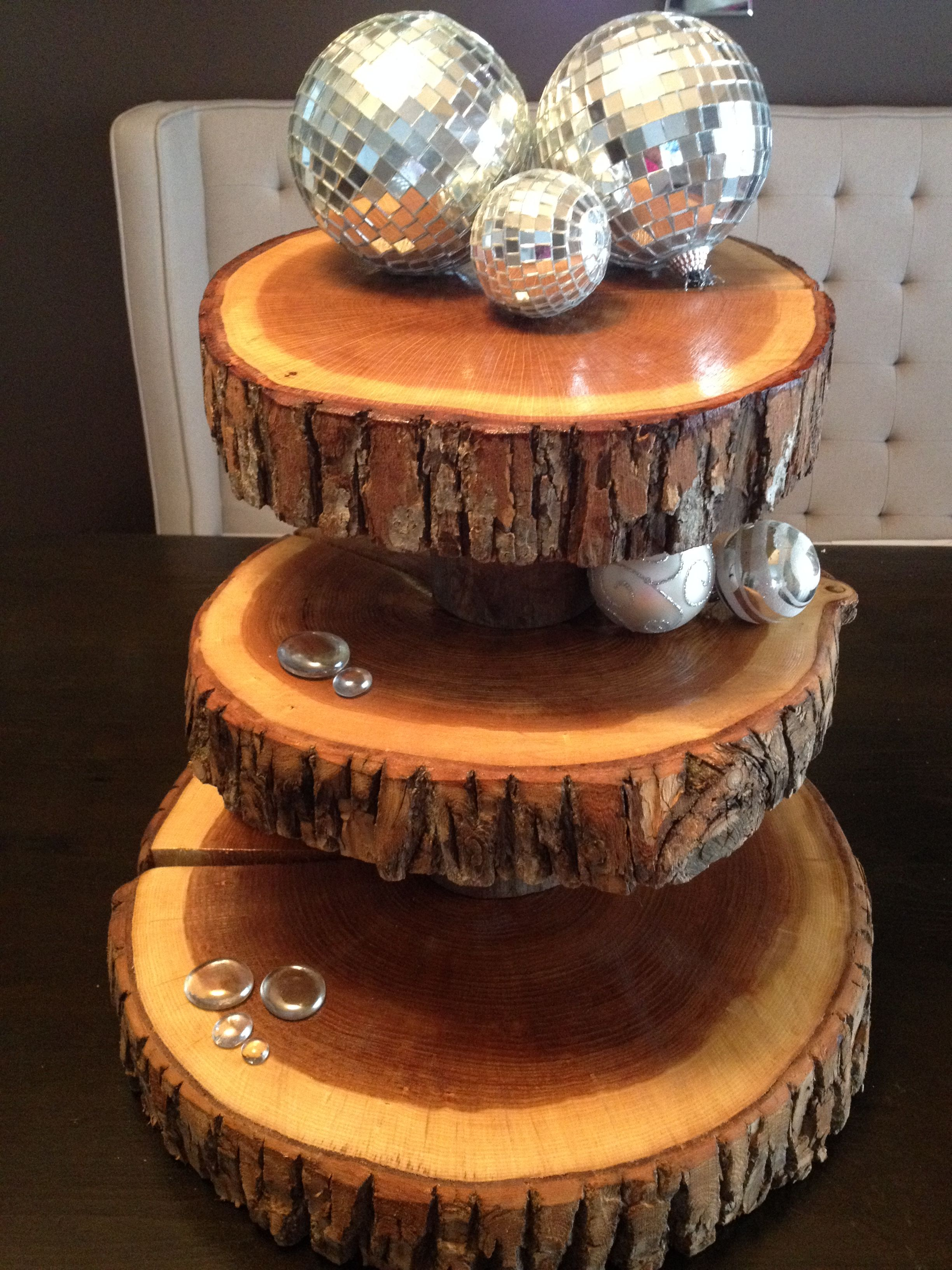 rustic cupcake stands wood rounds tree trunk cake stand. Black Bedroom Furniture Sets. Home Design Ideas