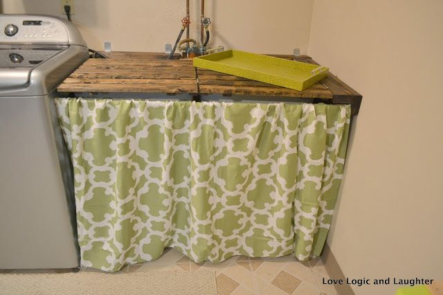 Creating A Home With Love Logic And Laughter Laundry Room Makeover Part 2 Utility Sink Skirt Laundry Room Makeover Room Makeover Utility Sink Skirt