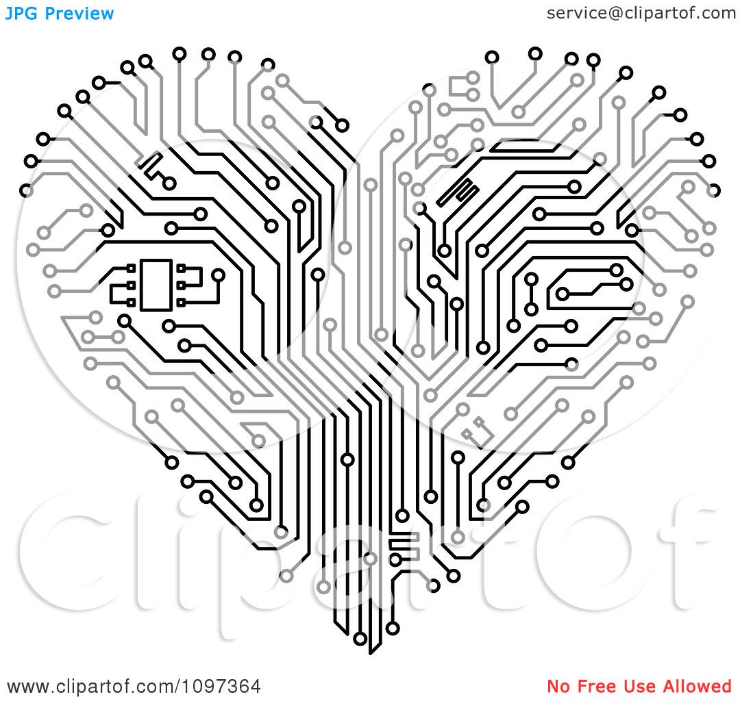 black and white printed circuit board vector art