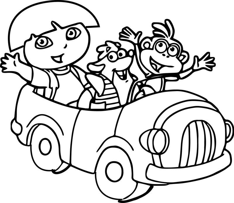 Dora And Friends In The Car Coloring Page Also See Read More