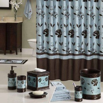 Amazon.com   Teal Colored Brown Bathroom Flowered 72 X 72 Shower Curtain    Chocolate
