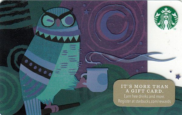 Night Owl Starbucks Card - 2014 | Starbucks Cards | Starbucks, Night