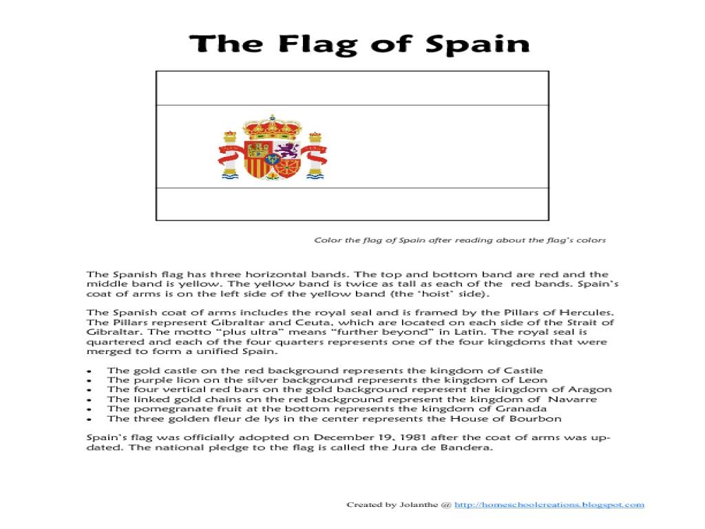 The Flag Of Spain Worksheet 768