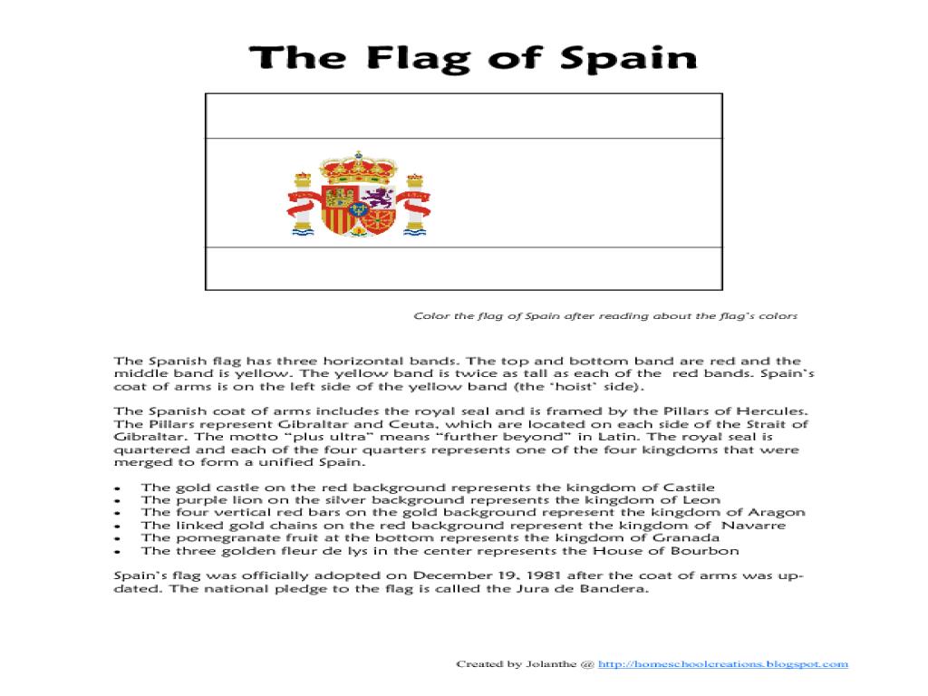 The Flag Of Spain Worksheet 768