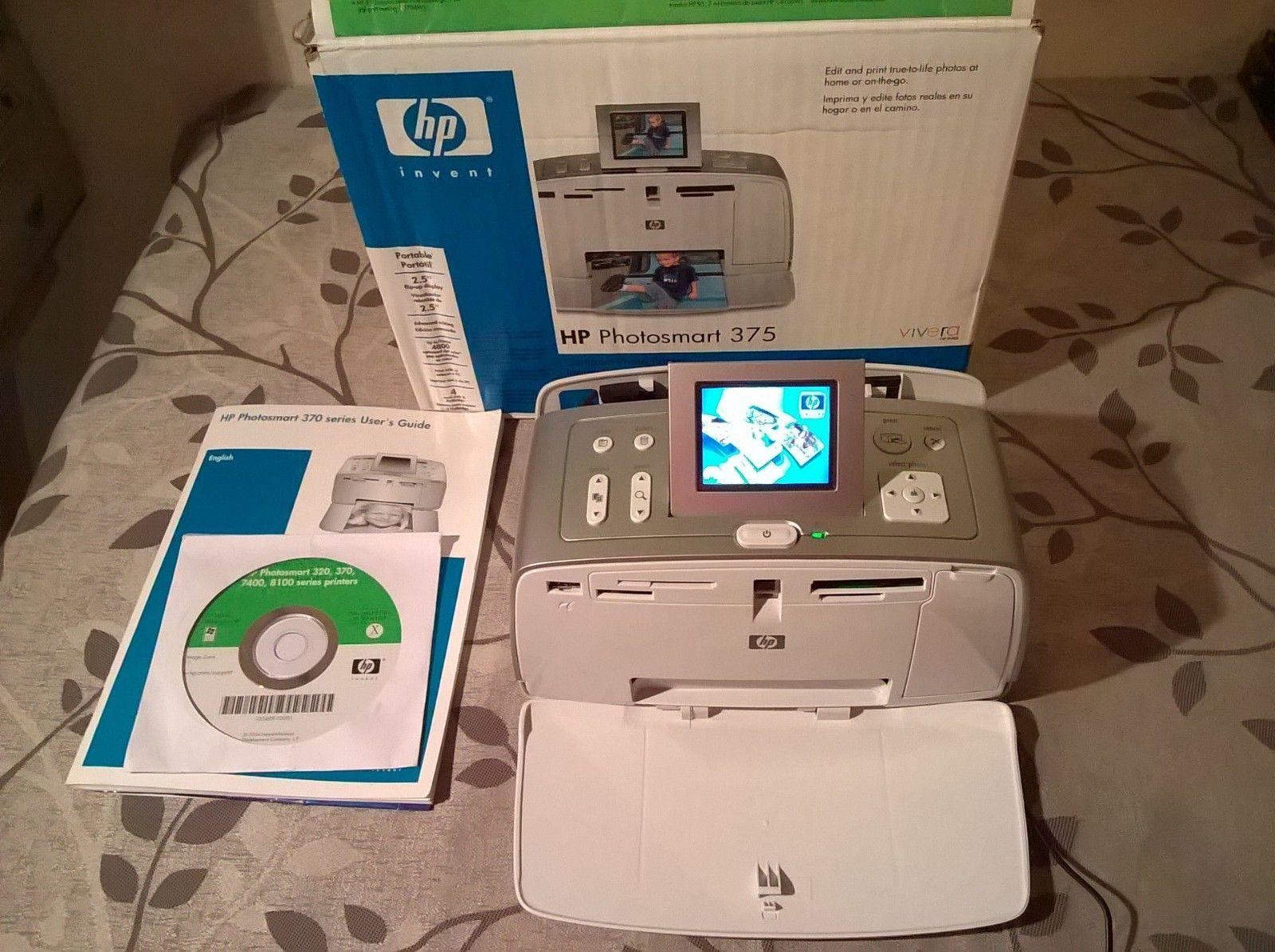 Hp photosmart 375 digital photo inkjet printer with power cord