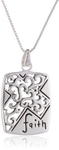 "Sterling Silver ""Faith"" Rectangular Pendant Necklace with Cut-Out Cross, 18"" for only $28.05 You save: $16.95 (38%)"
