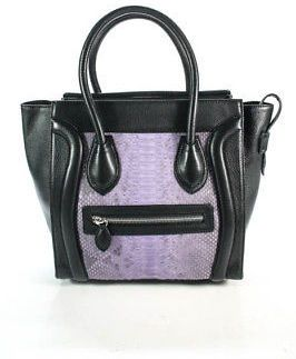 Eileen Kramer Black Leather Python Skin Trim Satchel Handbag Size Small New 590