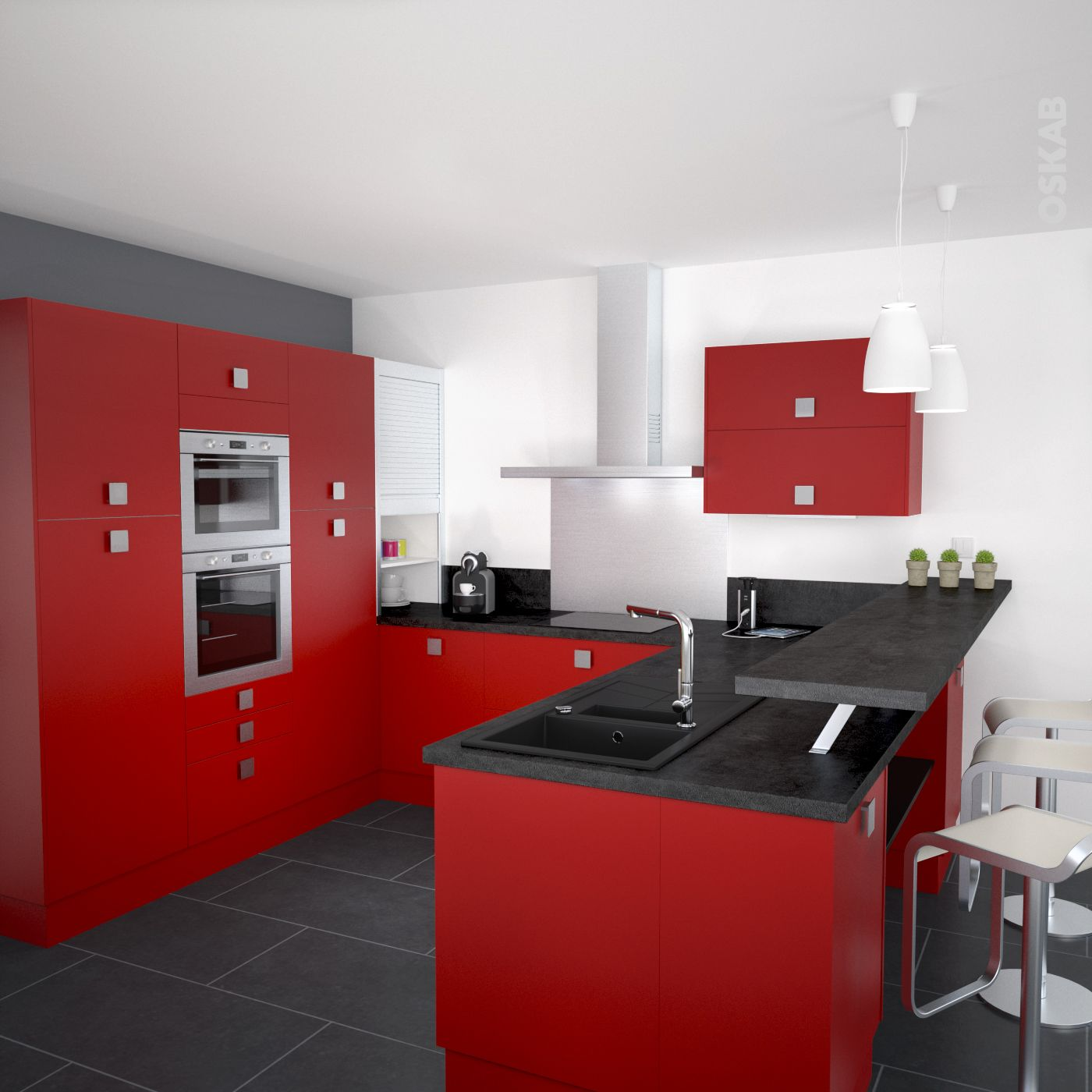 Cuisine ouverte contemporaine couleur rouge avec finition mate ...