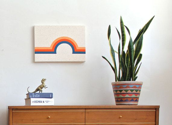 """arc geometric wall art """"dreamscape"""" in yellow-orange, red-orange and blue / by Tramake"""
