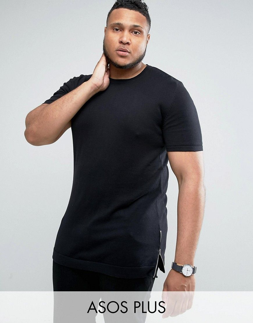 ASOS PLUS Longline Muscle Fit T-Shirt with Side Zips in Black - Black