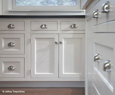 Attractive Cabinet Hardware: Cup Pulls On The Drawers Is A Must!