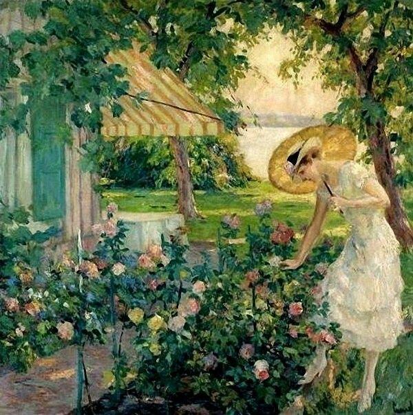 In the Rose Garden  - Edward Cucuel  American painter 1879-1954  Impressionism