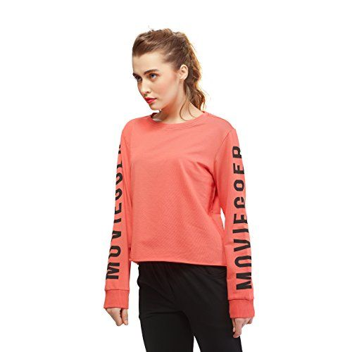 9560a4aed74bd2 Women Cotton Peach Crop Top Full Sleeve Round Neck Solid Plain Tees. Peach Full  Sleeve crop tops for girls