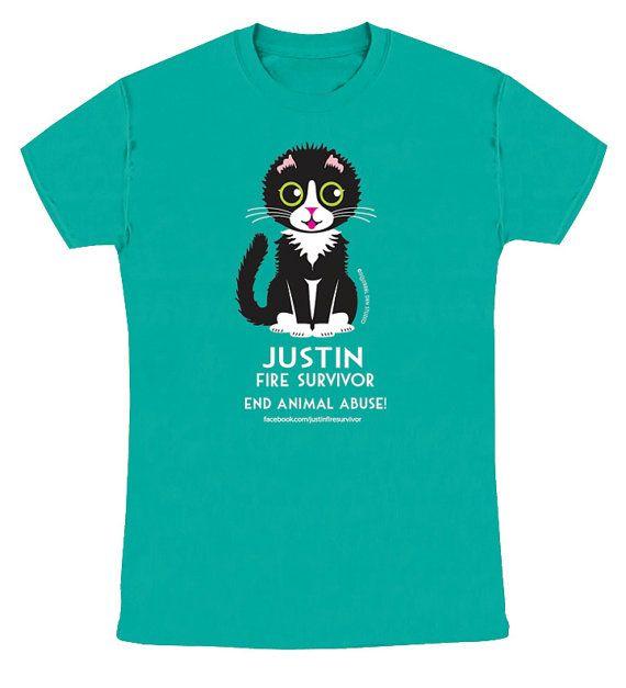 JUSTIN FIRE SURVIVOR on Green SlimFit Tee Cat Tee Shirt