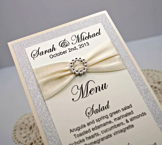 ivory wedding menu card full of bling sparkle and dazzle