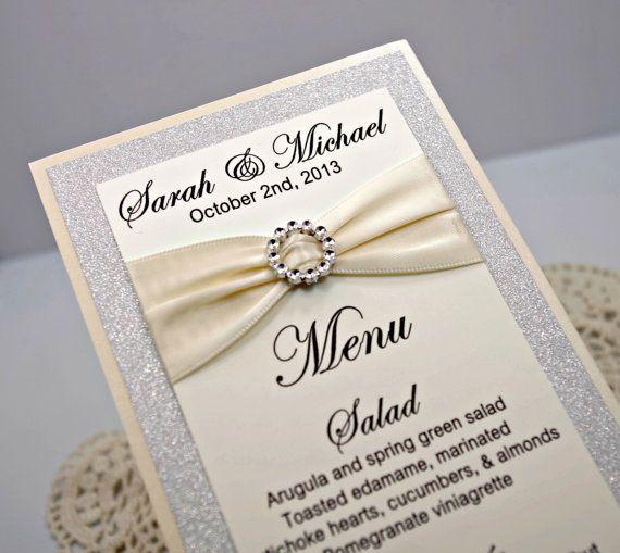 Diy Wedding Food Menu Ideas: Ivory Wedding Menu Card Full Of Bling, Sparkle, And Dazzle