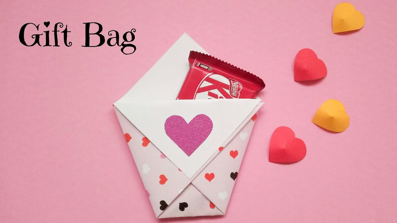 Easy Chocolate Gift Bag Diy Chocolate Day Gift Ideas Diy Paper