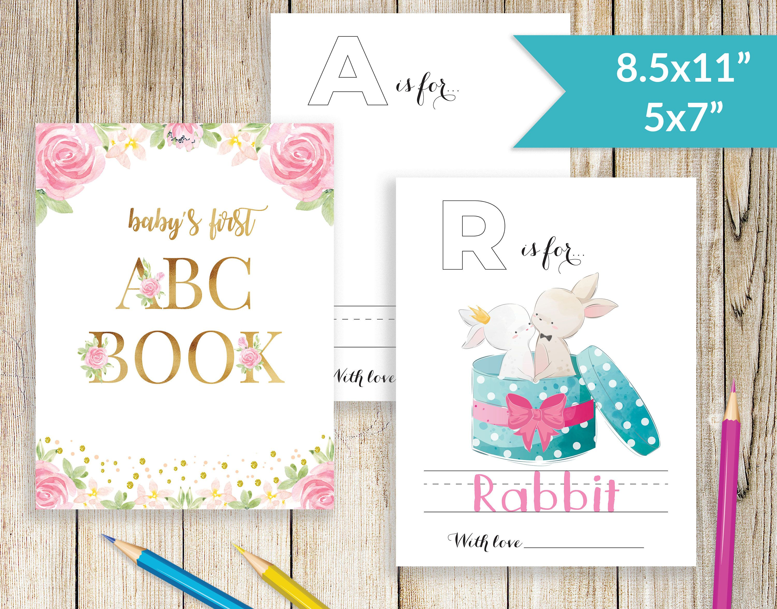 Baby S First Abc Book Blank Baby Shower Coloring Book Template Abc Book Baby Shower Baby Shower Activiti Baby Shower Book Baby Shower Baby Shower Activities