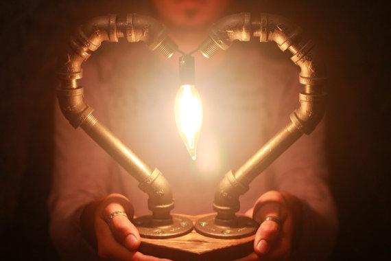 Handmade Blacksteel Pipe Valentines Day Heartshaped Lamp