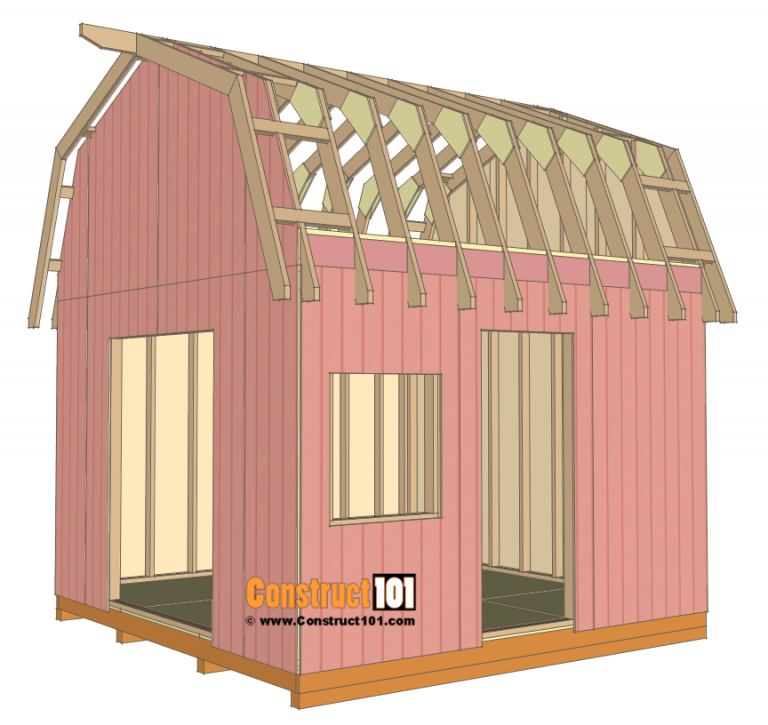 12x12 Barn Shed Plans With Overhang Free Pdf Construct101 Small Shed Plans Shed Plans Barns Sheds