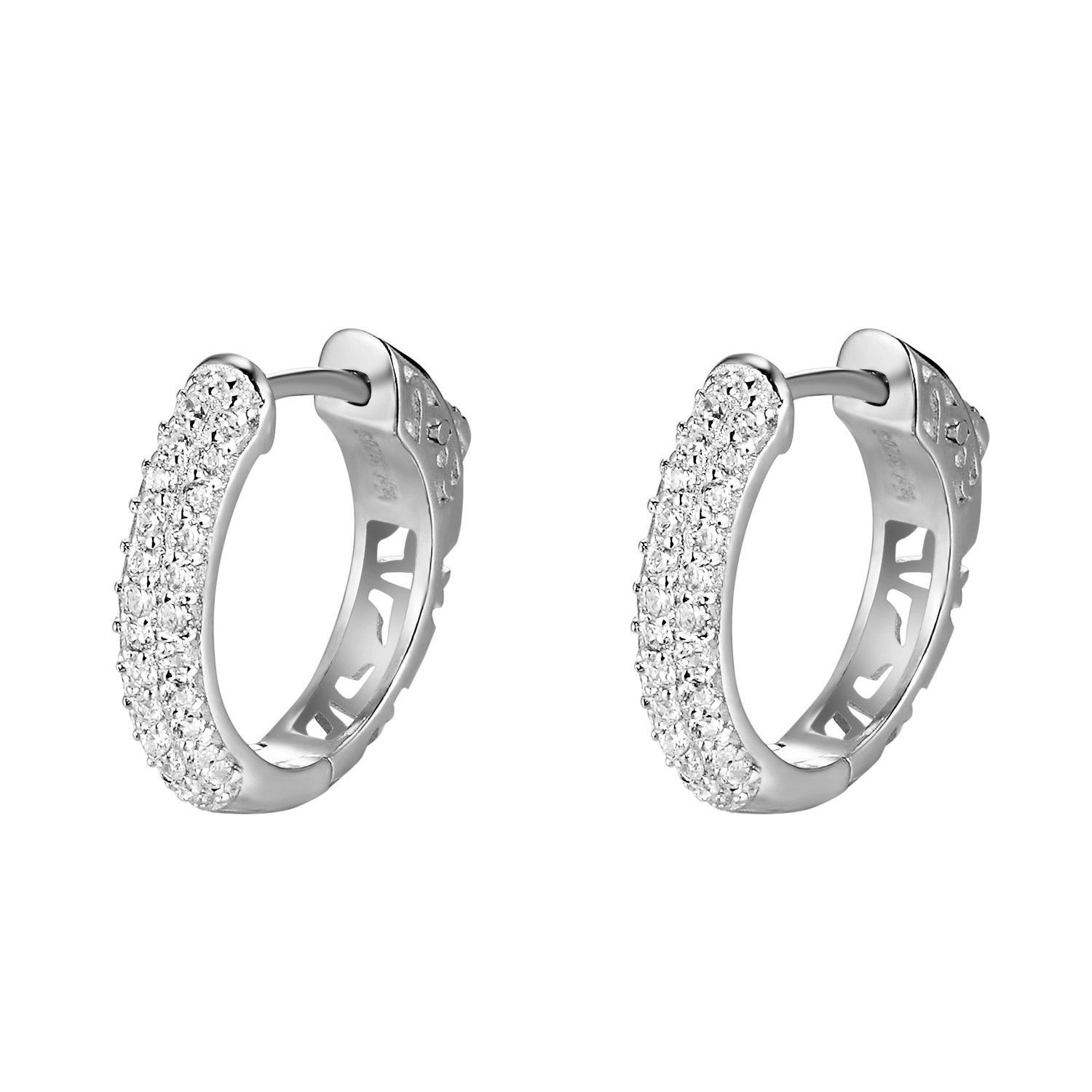 14k White Gold Finish over Sterling Silver 2 Row Micro pave Lab