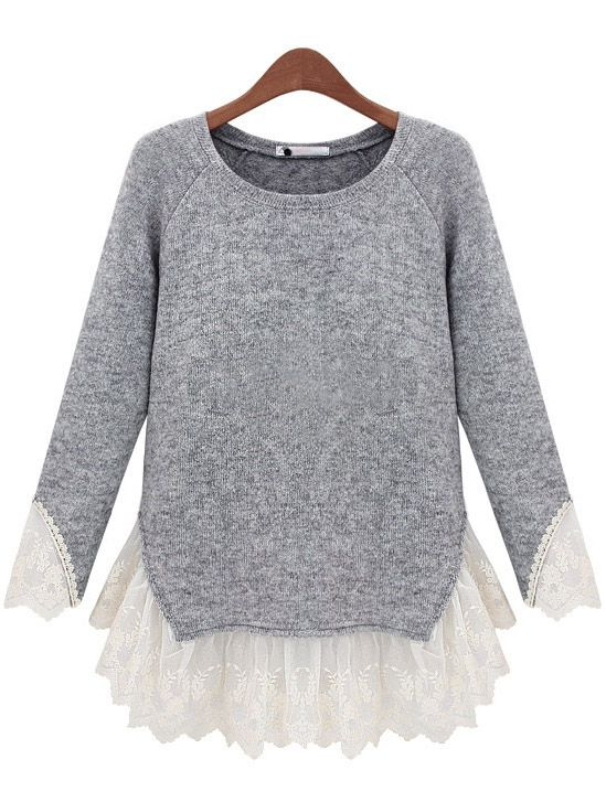 Grey Long Sleeve Contrast Lace Knit Sweater | Lace knitting, Gray ...