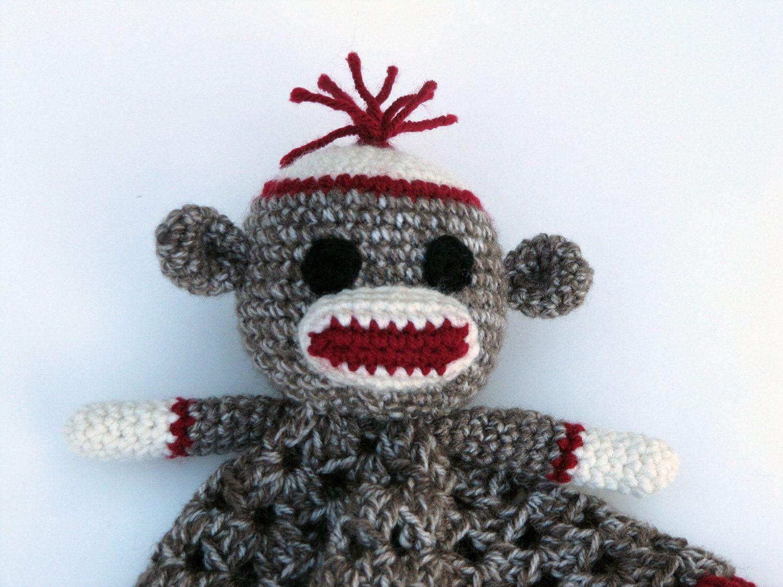 Sock Monkey Lovey - CROCHET PATTERN - blankey, blankie, security ...