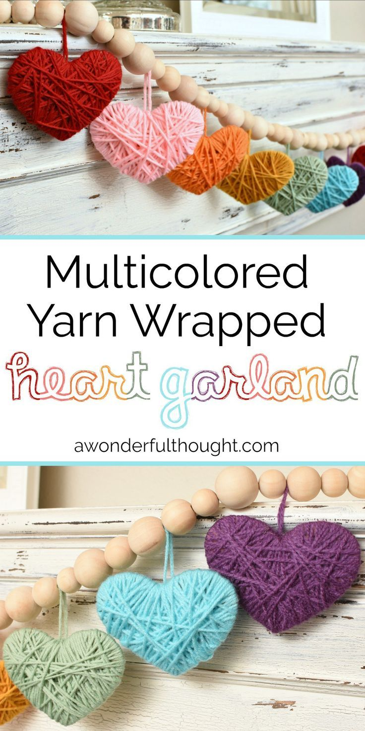 Mulitcolored Yarn Heart Garland #heartgarland #valentinesdaydecor #valentinesday #awonderfulthought