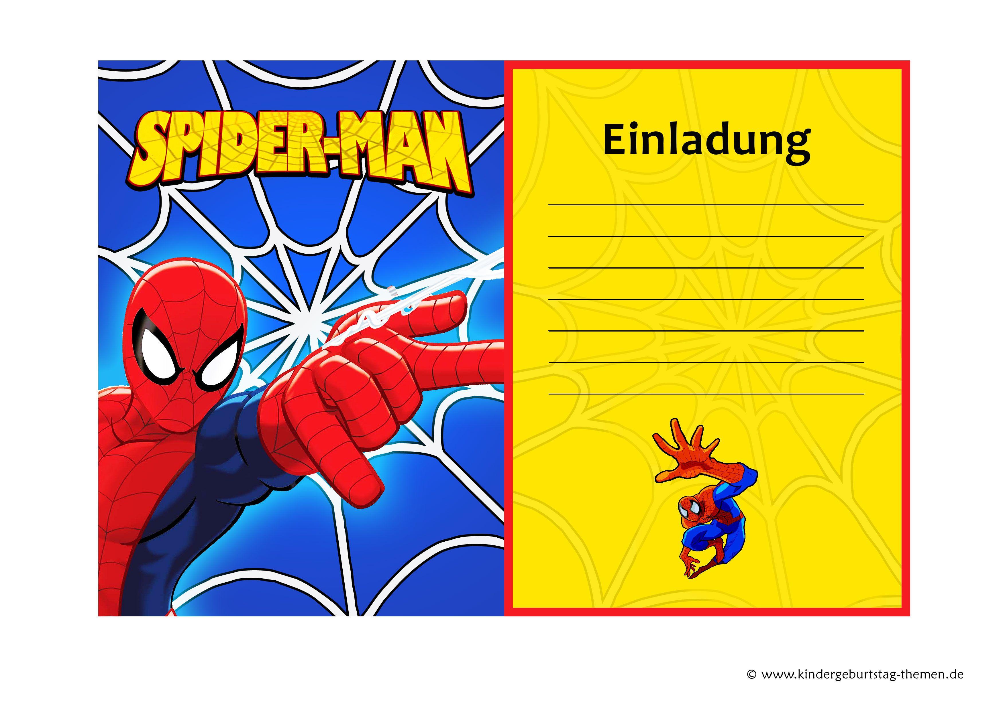 marvelous spiderman einladungskarten #1: Spiderman Einladungskarten: kostenlose Vorlagen der Einladungen zum  Ausdrucken