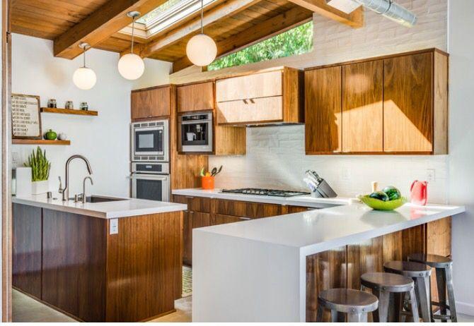 Warm wood midcentury modern kitchen Michelle Lord Interiors