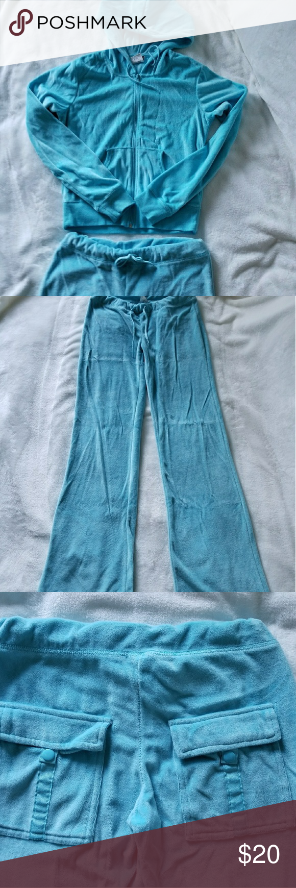 JP Baby Blue Velvet Tracksuit Pants and Jacket Velvet