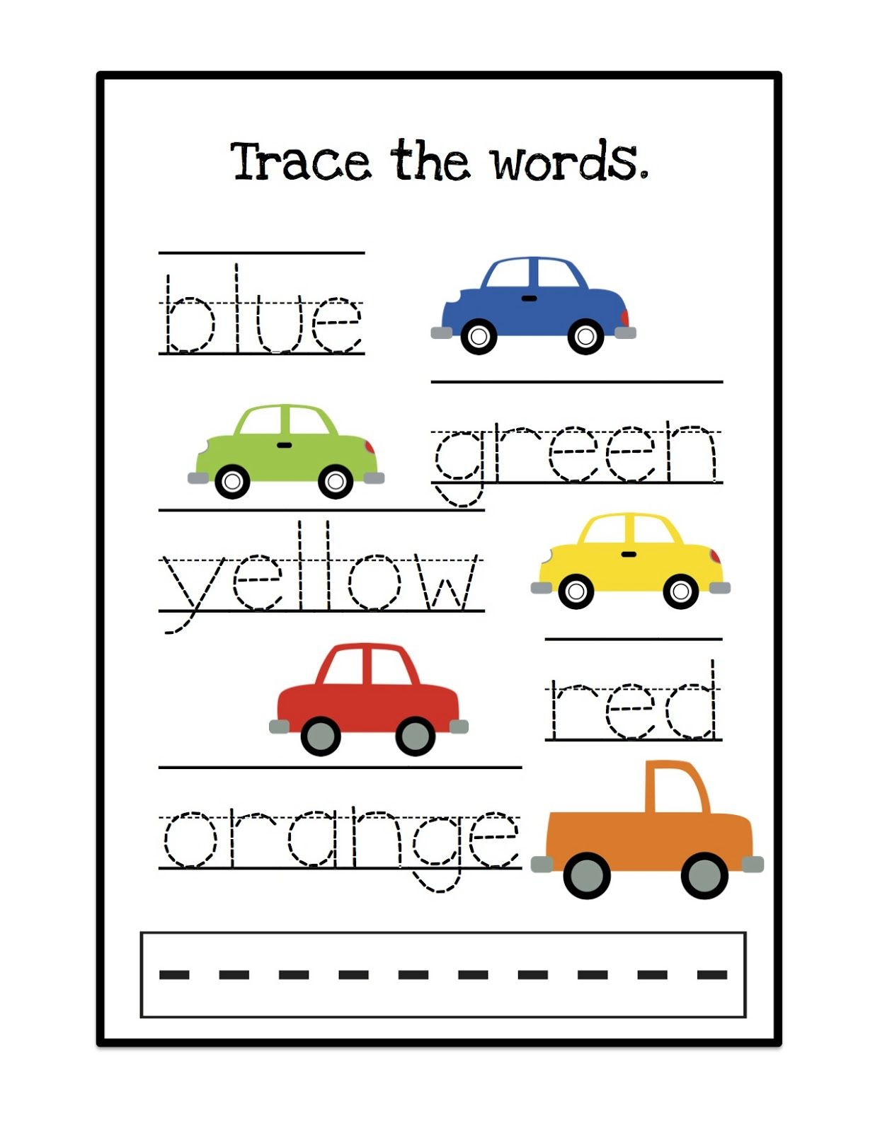 Blue Clor Words Kindergarten Worksheet