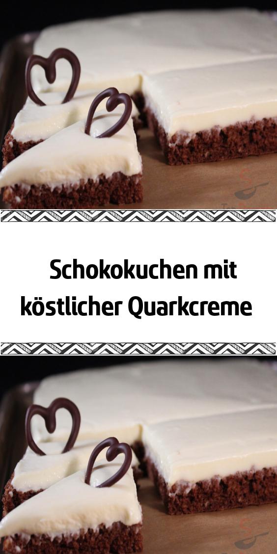 Schokokuchen Mit Kostlicher Quarkcreme Schokokuchen Quarkcreme Schokoladen Kuchen