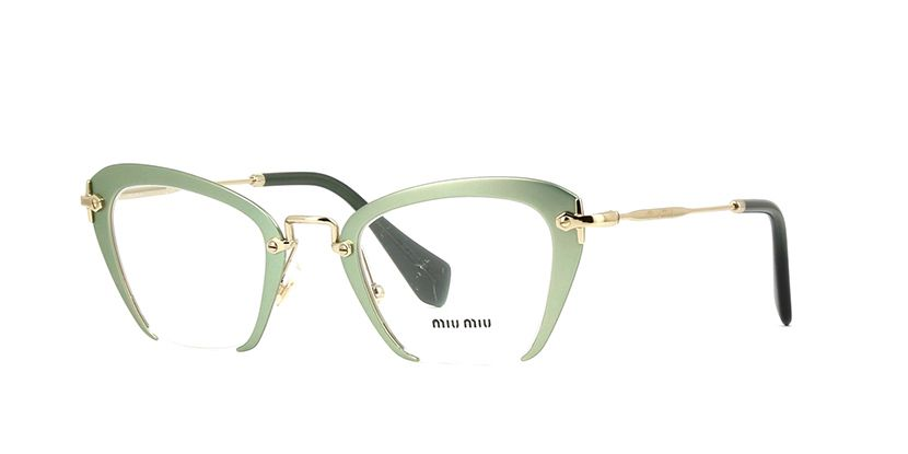d1fe855dc350 Miu Miu MU 54OV UF21O1 Metallized Opal Green Glasses