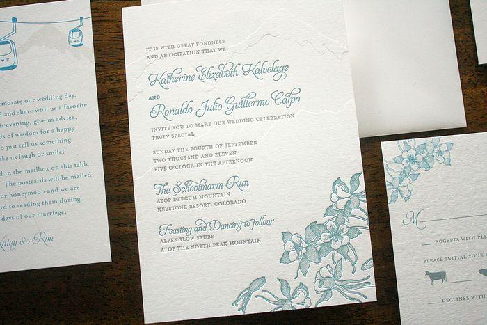 Colorado Mountain Letterpress Wedding Invitations by Parrott Design Studio