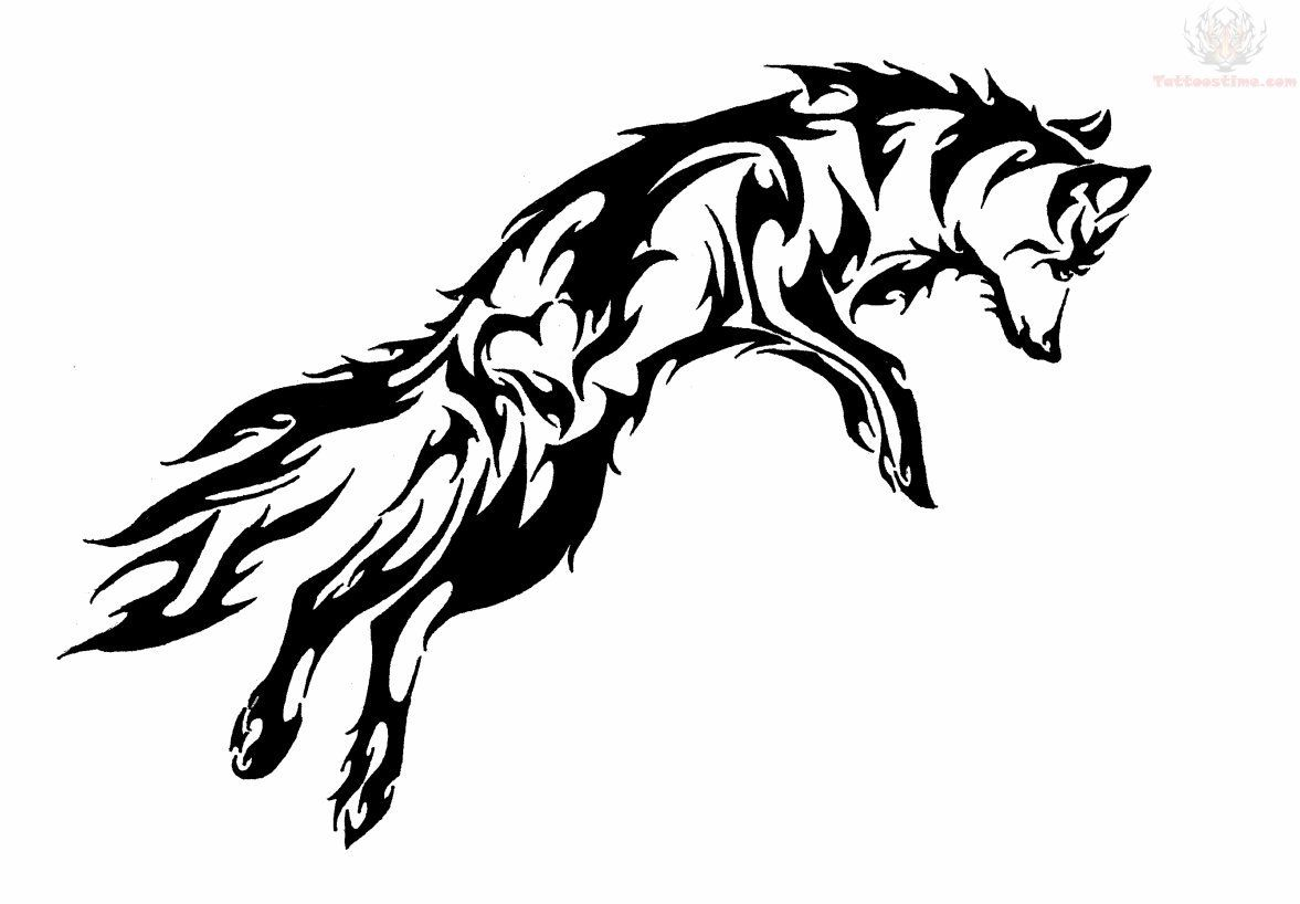 Lineart Wolf Tattoo : Tribal wolf jumping colouring pages tatts pinterest