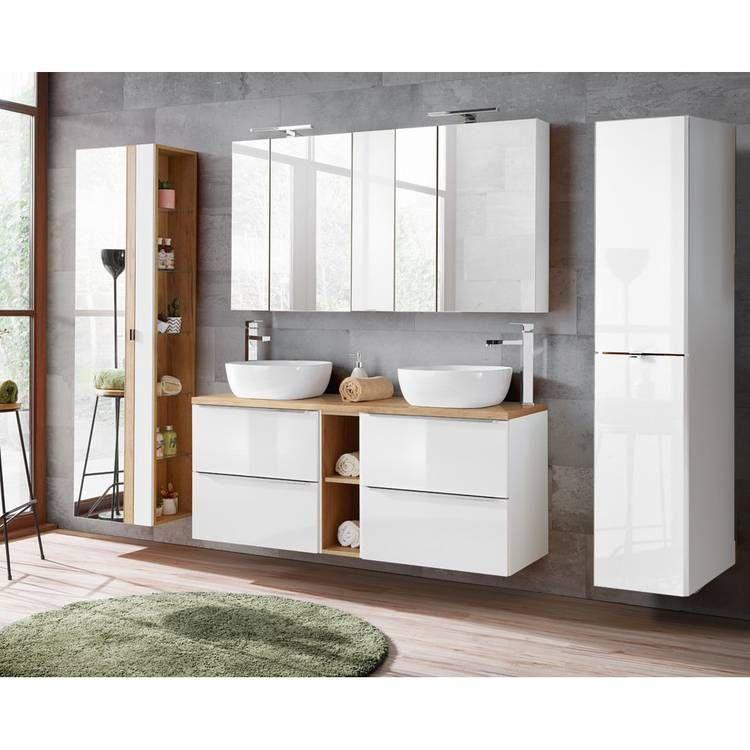 Badezimmer Serie Toskana 56 In Weiss Hochglanz Jetzt Selbst Zusammens Doppelwaschtisch Mit Unterschrank Badezimmer Innenausstattung Aufsatzbecken