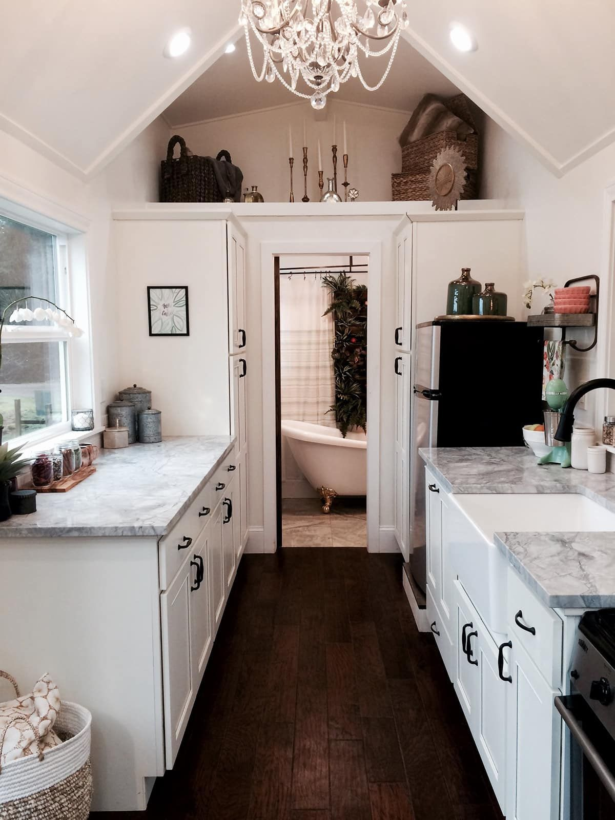 View toward kitchen the alpha tiny home by new frontier tiny homes - A Rustic Chic Blue Tiny House From Tiny Heirloom A Tiny House Construction Company