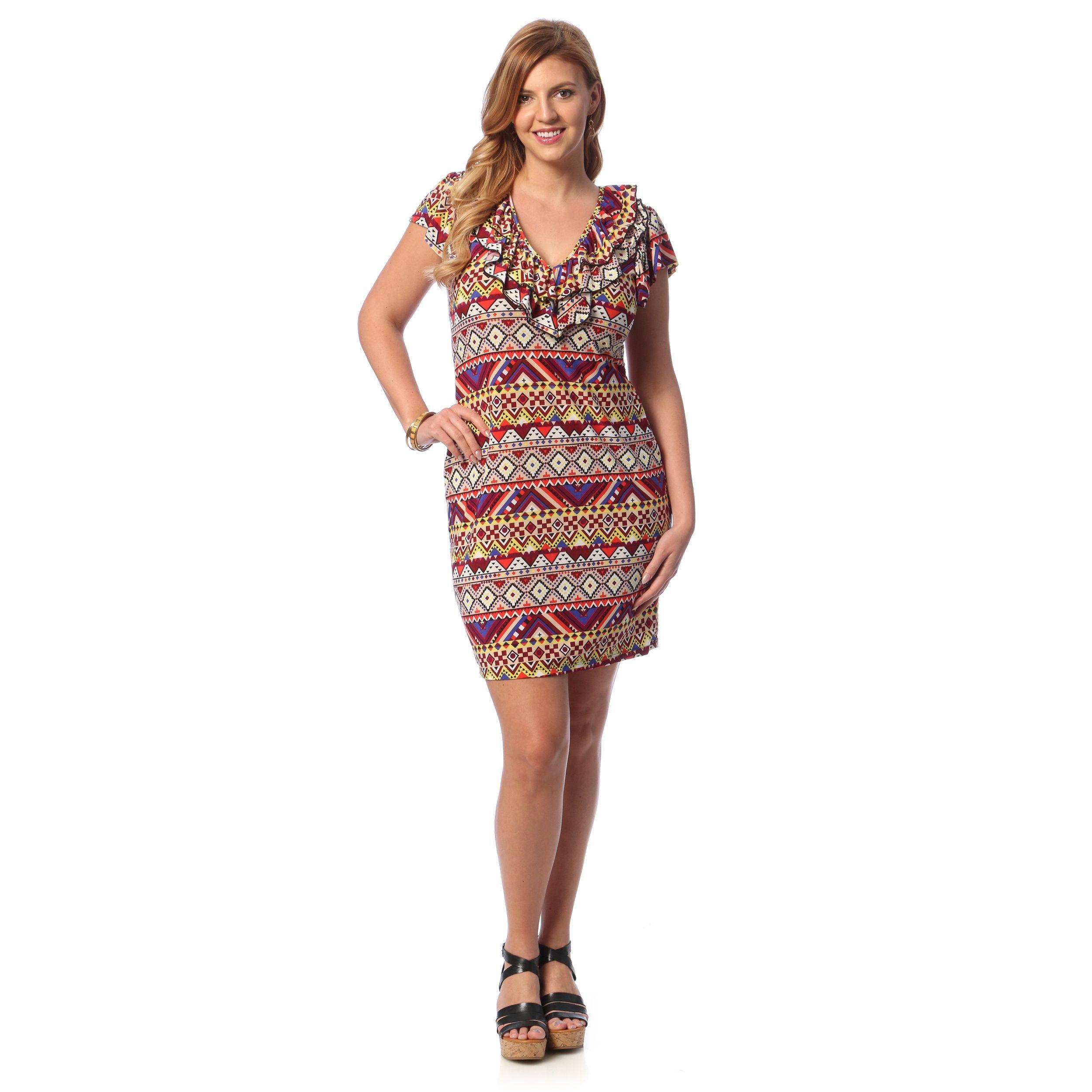 comfort apparel womenus plus size multiprint ruffled neck