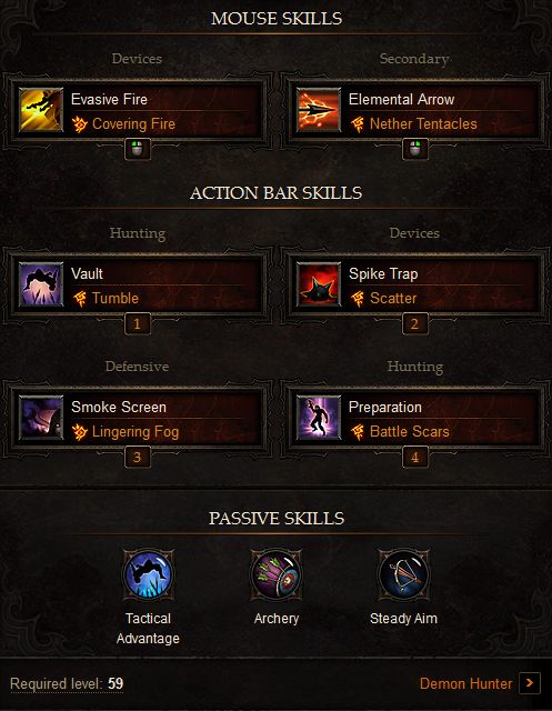 The Best Diablo 3 Demon Hunter Skill Trees Builds For Highest Dps And Great Pvp Barbarian Build Demon Hunter Diablo 3