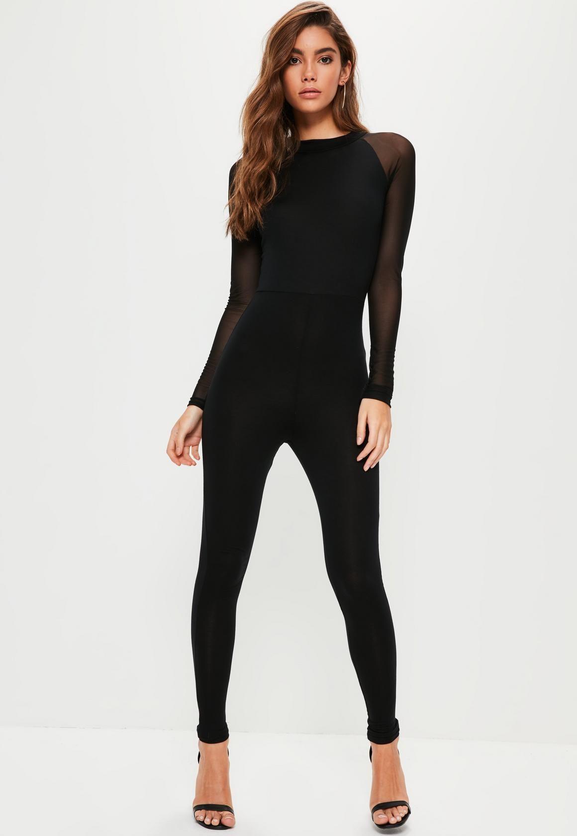 Missguided , Black Mesh Sleeve Jersey Unitard Jumpsuit