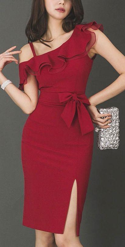 Photo of Red Ruffled Tight Midi Dress Asymmetric (Beautiful)