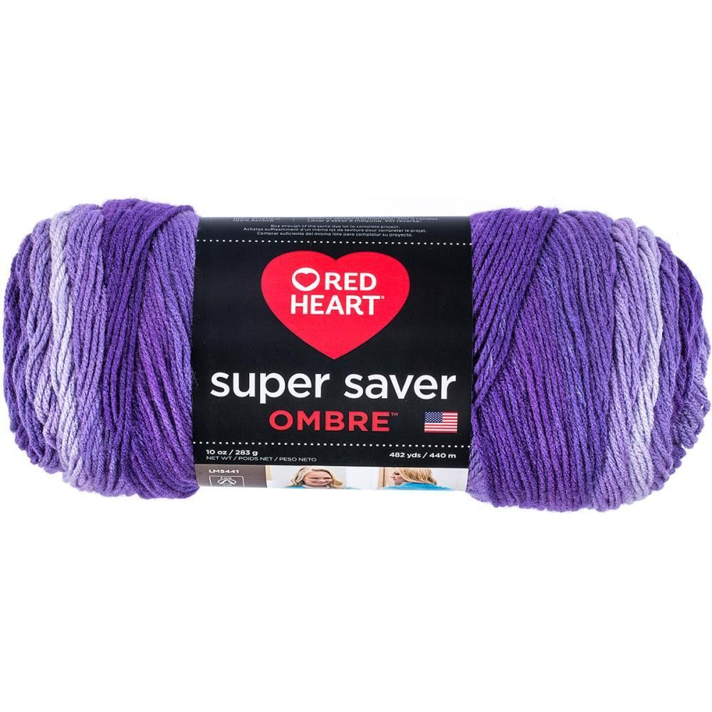 Red Heart Super Saver Ombre Yarn Purple