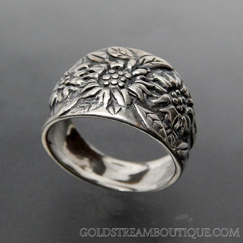 OR PAZ STERLING SILVER SUNFLOWER FLOWER WIDE BAND RING - SIZE 9 ...