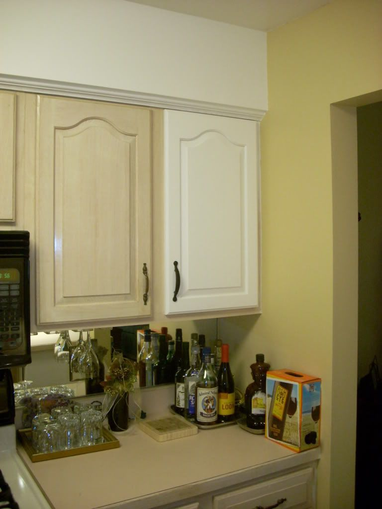 Shown dated pinkish pickled oak cabinets example shows for Samples of painted kitchen cabinets