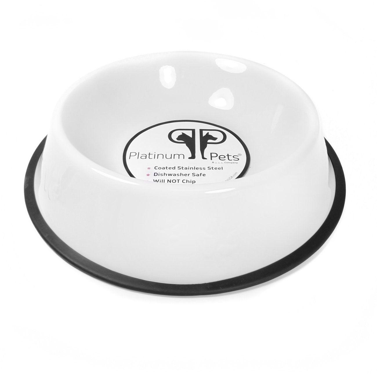 Pet Supplies : Platinum Pets 2 Cup Embossed Non-Tip Stainless Steel Dog Bowl, White : Amazon.com