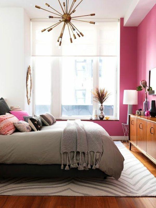 Schlafzimmer Inspiration mit rosa Wand (mit Bildern