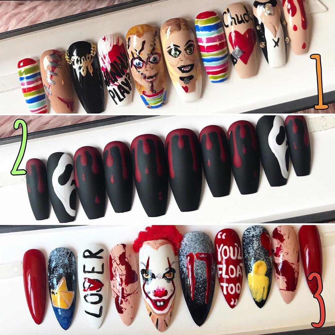 Which nails would you wear for Halloween?! 🎃🔪🎈 💕 #chucky # ...