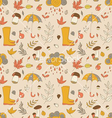 Autumn pattern seamless texture with autumn vector by Little_cuckoo on VectorStock®