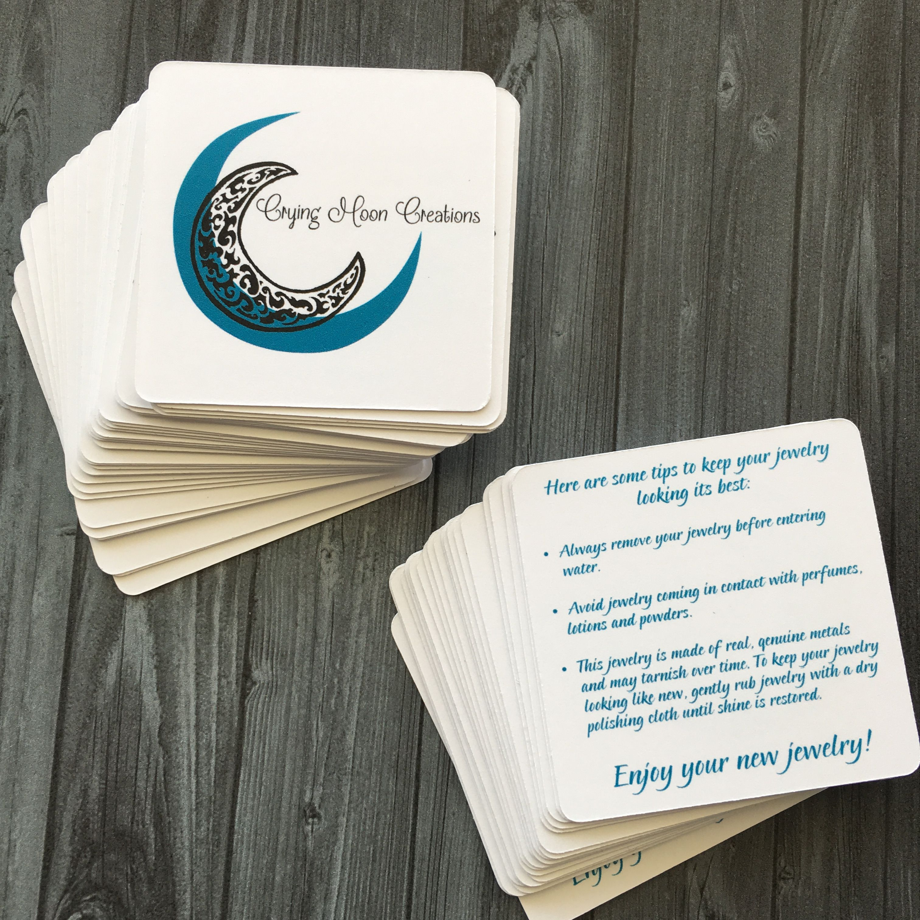 Custom Care Cards for a Custom Jewelry Business A simple, trendy ...